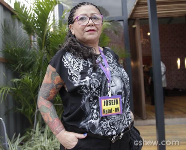 Mãe Rock´n´Roll! Josefa mostra que modernidade não tem idade!  (Foto: Domingão do Faustão/ TV Globo)