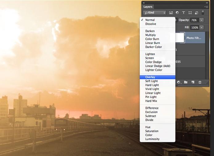 Mude o modo de Mesclagem e opacidade no Photoshop (Foto: Reprodução/André Sugai)