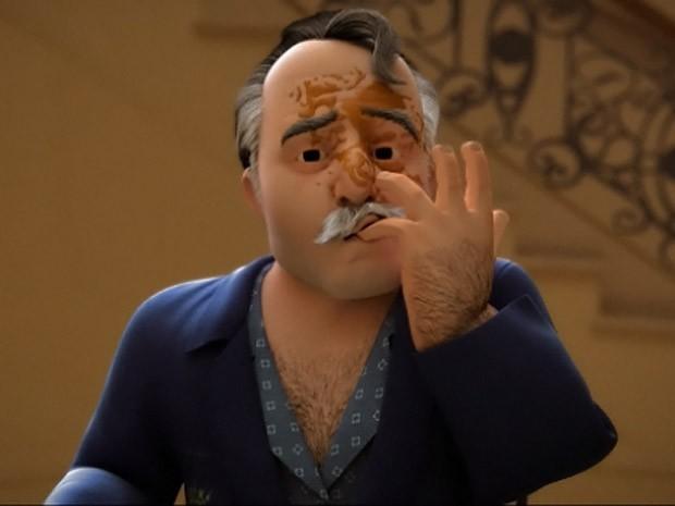 Otávio, personagem de Tony Ramos, foi recriado em computação gráfica 3D (Foto: Guerra dos Sexos / TV Globo)