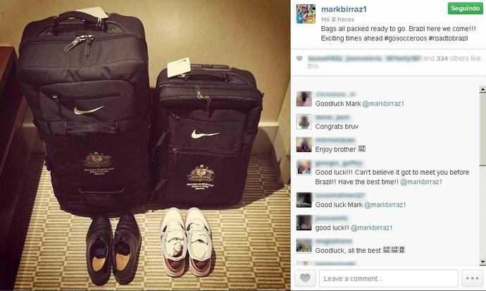 Goleiro australiano Mark Birighitti já está com as malas prontas para a viagem ao Brasil (Foto: Divulgação/Instagram)