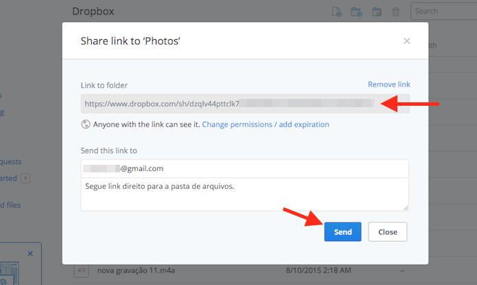 Obtendo um link direto para um arquivo ou pasta do Dropbox (Foto: Reprodução/Marvin Costa)