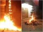 Árvore de Natal de lixo, símbolo de protesto, é destruída em incêndio