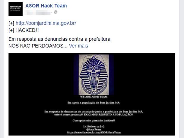 Grupo hacker comemorou ataque nas redes sociais (Foto: Reprodução)