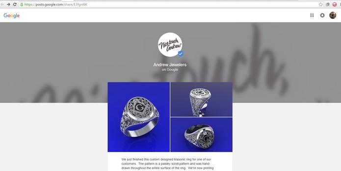 Página de joalheria é semelhante ao mostrado no projeto experimental do Google Posts (Foto: Reprodução/Barbara Mannara)