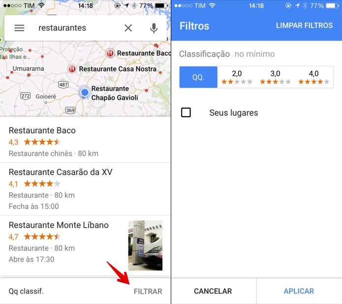 Filtrando os resultados de busca do Google Maps (Foto: Reprodução/Helito Bijora)