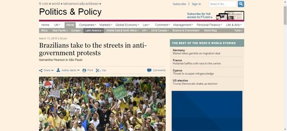 Financial Times repercute manifestações de 13 de março (Foto: Reprodução)