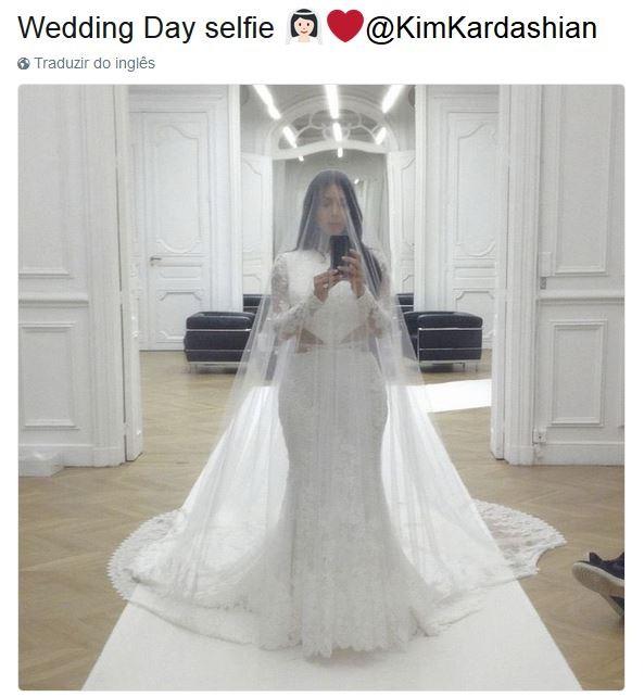 Selfie tirada no dia do casamento de Kim Kardashian (Foto: Reprodução Instagram)