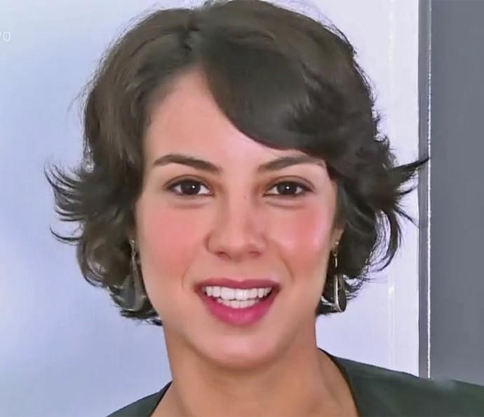 Andreia Horta usa cabelos curtos no seu dia a dia (Foto: Vídeo Show / TV Globo)