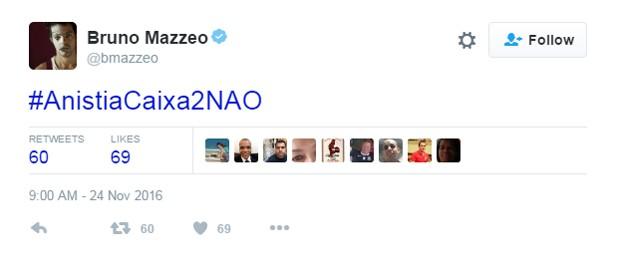Bruno Mazzeo comenta anistia ao caixa 2 (Foto: Reprodução/Twitter/@bmazzeo)