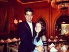 Enzo Celulari janta com a irmã, Sophia, em Miami, nos EUA