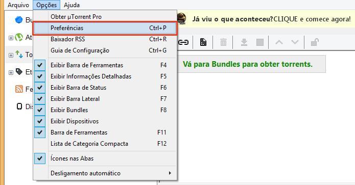 Acesse as preferências do uTorrent (Foto: Reprodução/Paulo Alves)