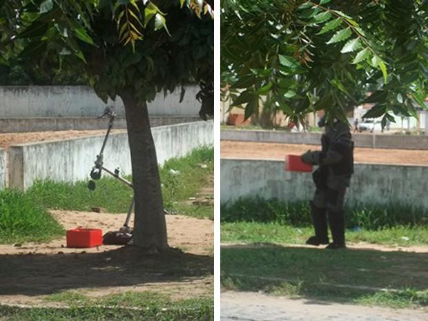 Robô foi usado pelo Bope para remoção de artefato em Natal, RN (Foto: Wal Carvalho/G1)