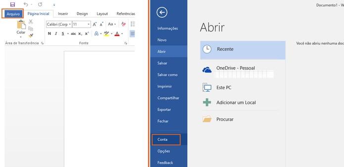Acesse as configurações de Conta no programa do Microsoft Office 2016 (Foto: Reprodução/Barbara Mannara)