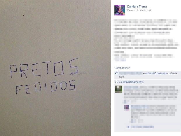 Pichações foram encontradas na Unesp de Ourinhos (Foto: Reprodução/Facebook)