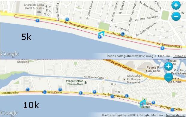 Percurso Fila Night Run - Rio de Janeiro (Foto: Reprodução / Google Maps)