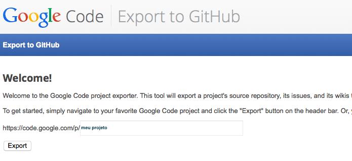 Exportando um projeto do Google Code para o GitHub (Foto: Reprodução/Edivaldo Brito)