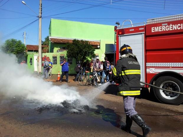 Bombeiros foram acionados para apagar o fogo  (Foto: Reprodução / TV TEM)