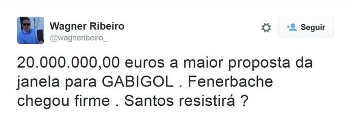 Wagner Ribeiro twitter Gabriel Santos (Foto: Reprodução / Twitter)