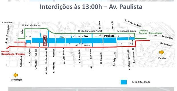 Trecho da Avenida Paulista entre ruas Consolação e Augusta começa a ser liberado às 13h desta quinta-feira (31)  (Foto: Divulgação: CET)