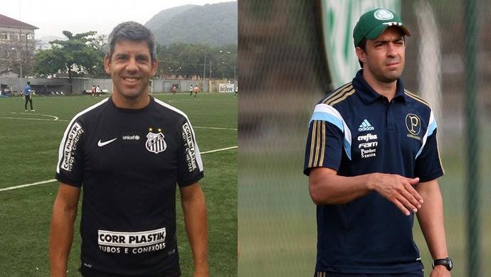 Marcos Soares (esq.) e João Burse (dir.) comandam o sub-20 de Santos e Palmeiras, respectivamente (Foto: Arte/GloboEsporte.com)