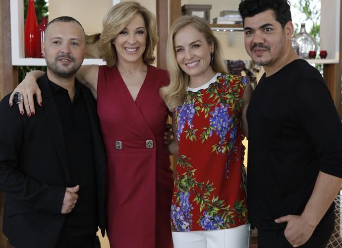 Angélica, Claudia Raia e a dupla de consultores da atriz (Foto: Fábio Rocha/Gshow)