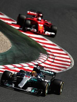 Lewis Hamilton e Sebastian Vettel no GP da Espanha de 2017