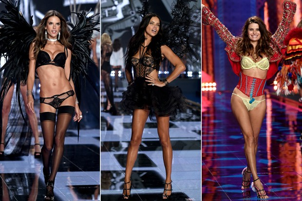 Victoria's Secret Fashion Show 2014 - Alessandra Ambrósio, Adriana Lima e Isabelli Fontana (Foto: Agência Getty Images)