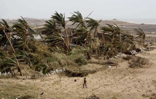 Mulher retorna à vila indiana de Arjipalli, na Baía de Bengala, atingida pelo ciclone Phailin. A vila teve árvores entortadas e derrubadas pela força do vento (Foto: Biswaranjan Rout/AP)