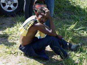 Passageiro Balbino Bispo conseguiu sair do ônibus antes do socorro chegar, espírito santo (Foto: Reprodução/TV Gazeta)