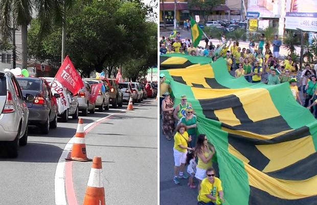 No Espírito Santo, protestos contra Dilma e contra Temer ocorreram em Vila Velha e Vitória (Foto: Frente Brasil Popular ES/ Divulgação e Reprodução/ TV Gazeta)