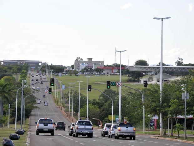 Onda verde na avenida Theotônio Segurado, em Palmas (Foto: Divulgação/Smatt)