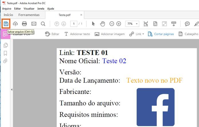 Salve as modificações no documento em PDF no computador (Foto: Reprodução/Barbara Mannara)