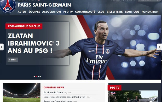 ibrahimovic paris saint germain site (Foto: Reprodução/Paris Saint Germain )