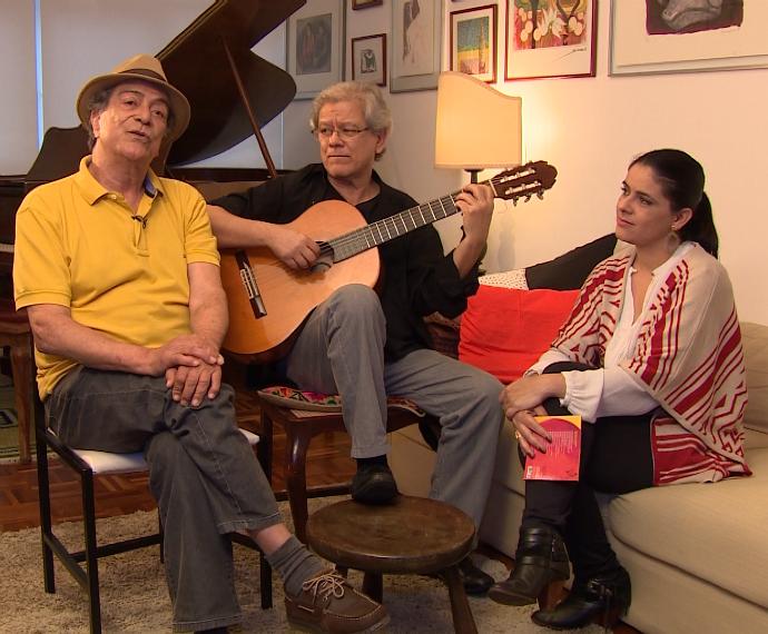 Jerônimo Jardim, o maestro Toneco da Costa e Shana Müller (Foto: Reprodução/RBS TV)
