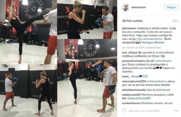 BLOG: Ex-lutador do UFC dá aula para Ana Hickmann após atentado sofrido por ela