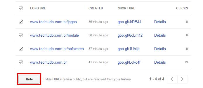 Mesmo depois de excluir da lista, os links continuarão acessíveis na web (Foto: Reprodução/Paulo Alves)