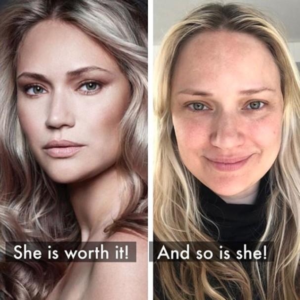 Modelo mostra rosto com e sem maquiagem e Photoshop (Foto: Reprodução)