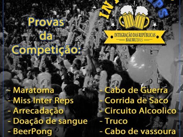 Folder mostra propaganda das competições na festa (Foto: Reprodução / facebook)
