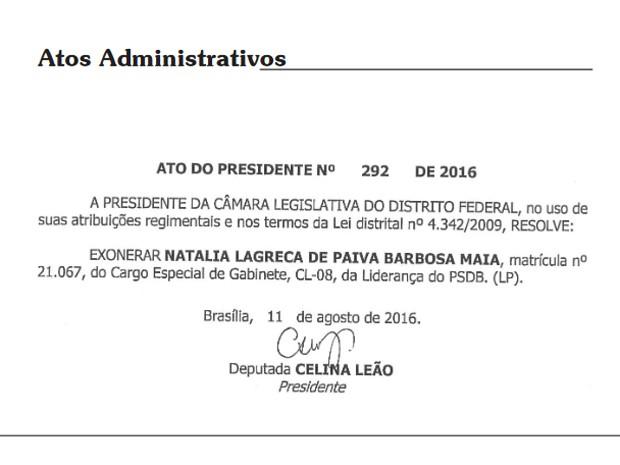 Exoneração de Natália Maia foi divulgada no Diário da Câmara Legislativa do Distrito Federal na última quinta-feira (11) (Foto: CLDF/Divulgação)