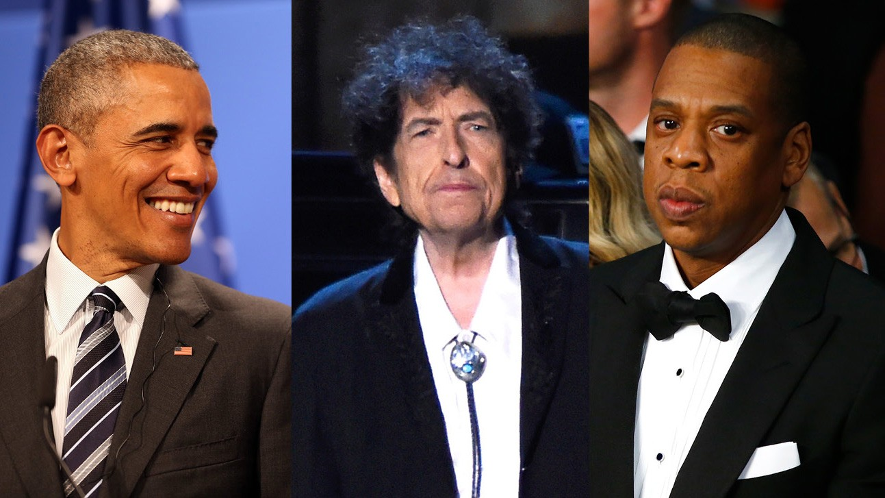 Barack Obama, Bob Dylan e Jay-Z (Foto: Getty Images)