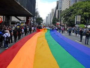 Bandeira colorida é colocada no meio da Avenida Paulista antes do início da Parada Gay, na manhã deste domingo (10) (Foto: Tércio Teixeira/Futura Press/AE)
