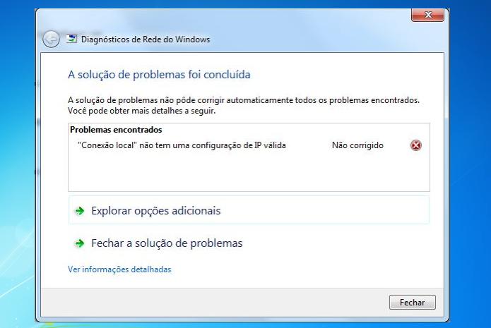 """Windows apresentando erro configuração de ip inválida""""? Veja como resolver (Foto: reprodução/Edivaldo Brito)"""