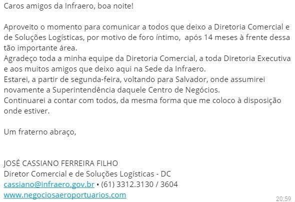 Carta de José Cassiano Ferreira Filho sobre sua saída de diretoria da Infraero (Foto: Reprodução)