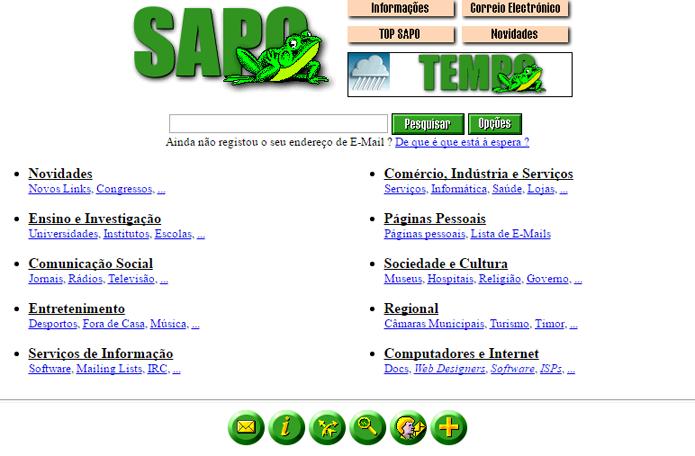 Portuguesa Sapo cresceu e se tornou provedora de Internet (Foto: Reprodução/Archive.org)