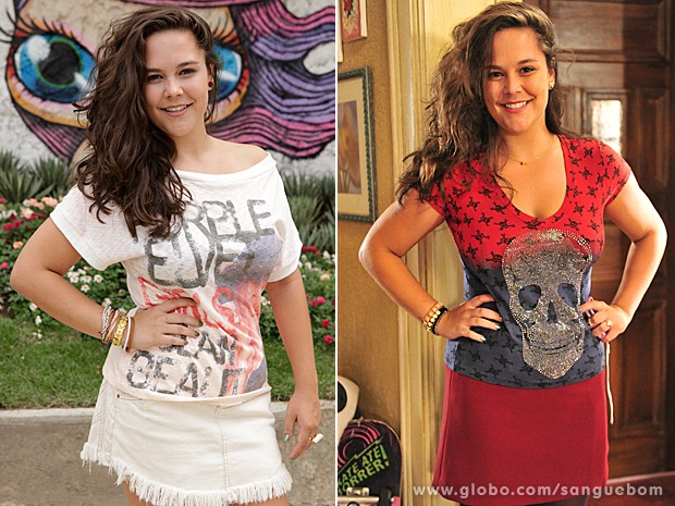 Socorro usa toda sua criatividade para arrasar com modelitos para lá de coloridos (Foto: Sangue Bom/TV Globo)