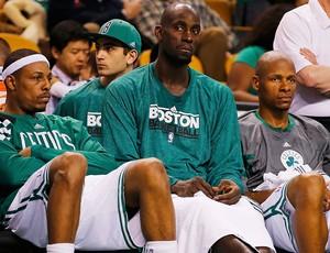 PaulPierce, KevinGarnett, RayAllen, Miami x Boston (Foto: Agência AP)