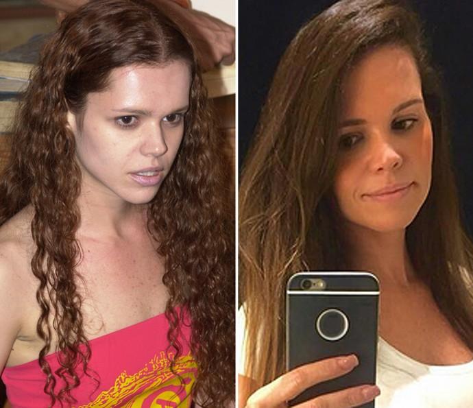 Viviane em O Clone (2001) e atualmente (2016) (Foto: Acervo Globo e Arquivo Pessoal)