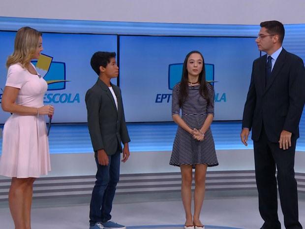 Finalistas do EPTv na Escola participam ao vivo do Jornal da EPTV em Campinas (Foto: Reprodução / EPTV)