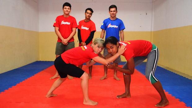 Delegação amapaense de luta olímpica, Jogos Estudantis 2013 (Foto: Wellington Costa/GE-AP)