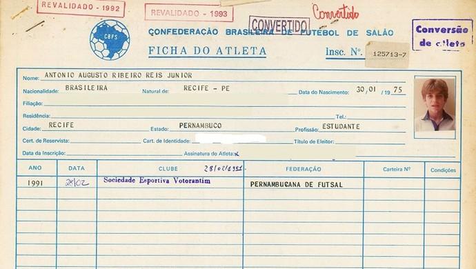 Ficha Juninho pernambucano, Futsal (Foto: Arquivo CBFS)